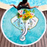 Beach roundie Elephant|Badstof Microfiber|Extra dikke kwaliteit|Rond strandlaken|Ibiza ronde handdoek|Blauw|Olifant