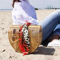 Vierkant sjaaltje Wild and Silky|Rood Beige|Vierkante sjaal|Zijdezacht sjaaltje|Luipaard print