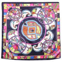 Vierkant sjaaltje Silky Beauty|Blauw roze multi|Vierkante sjaal|Zijdezacht sjaaltje