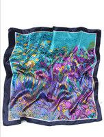 Vierkant sjaaltje Iris|Blauw paars groeni|Vierkante sjaal|Zijdezacht sjaaltje
