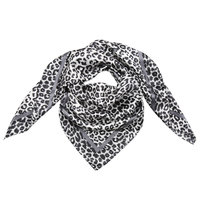 Klein grijs vierkant sjaaltje Silky Leopard|Zijdezachte shawl|Luipaardprint
