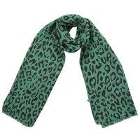 Lange dames sjaal Green Leopard|Lange shawl|Groen zwart Luipaardprint