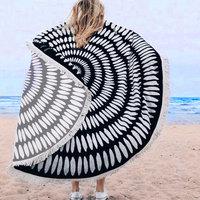 Beach roundie Fancy Black|Badstof Microfiber|Rond strandlaken|Ibiza ronde handdoek|Zwart wit