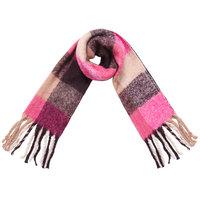 Stoere sjaal Colored Blocks roze Extra lange dames sjaal Geruit Geblokt Roze Burundy rood