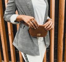 Klein tasje IT bag|Kleine schoudertas|Heuptas|Bruin|Croco print