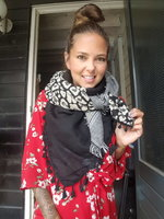 Grote zwarte vierkante sjaal Wildlife|Vierkante shawl|Luipaardprint geruit|Zwart grijs wit