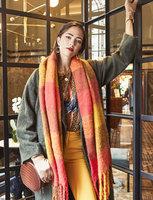 Stoere sjaal Colored Blocks|Extra lange dames sjaal|Geruit Geblokt|Oranje Roze