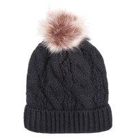 Warme dames muts Winter Happiness|Zwart|Gebreide beanie|Nepbont pompom