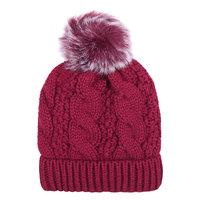 Warme dames muts Winter Happiness|Rood|Gebreide beanie|Nepbont pompom