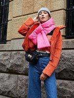 Trendy puffer sjaal Velvet roze|Lange dames sjaal|velvet fluweel