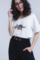 Wit shirt met dinosaurus|Glitter|Pailetten