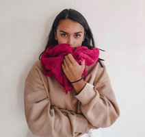 Mooie lange dames sjaal Preppy Colors|Fuchsia roze rood