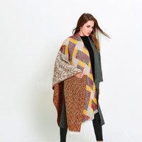 Mooie lange dames sjaal Squares|Rood beige geel