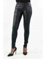Coated broek met ritsjes|Zwart|Wax coating