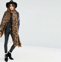 Warme dames sjaal Leopard Love|Lange dames shawl|Extra dikke kwaliteit|Luipaard Leopard|Bruin Zwart|Franjes
