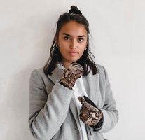Zachte dames handschoenen Let's Snake|Zwart Bruin|Slangenprint|warme handschoenen