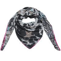 Grote vierkante dames sjaal Happy Stars|Vierkante shawl|Sterrenprint|Grijs roze blauw