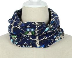 Kinder sjaal Uil in Boom|Blauwe col sjaal kinderen|Uiltjes print