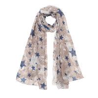 Lange dames sjaal Stars Chaos|Lange shawl|Beige blauw|Sterrenprint