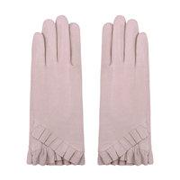 Zachte dames handschoenen Pleated|Poederroze|Nepbont|warme handschoenen