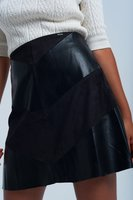Zwarte rok suedine en lederlook