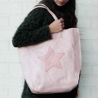 Shopper bag City Star|Licht roze|PU leder|Ster|Met kleine tas erin