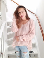 Gebreid fluffy trui Alexandre Laurent Poederroze|mohair sweater