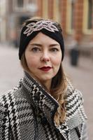Hoofdband Winter Sparkle|Zwart|Gebreide haarband|glitter