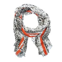 Lange dames sjaal Boa|Taupe wit oranje|slangenprint|Glitter