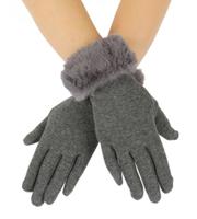Zachte dames handschoenen Fur Lady|Grijs|Nepbont|warme handschoenen