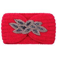 Hoofdband Winter Sparkle|Rood|Gebreide haarband|glitter