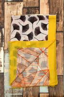 Lange dames sjaal Ginko Leaf|Bladerprint|Geel zwart wit oranje
