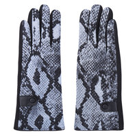 Zachte dames handschoenen Let's Snake|Zwart Blauw Grijs|Slangenprint|warme handschoenen