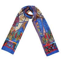 Lange zijdezachte sjaal Silky Figures|Paisley fantasy|Blauw rood oranje groen