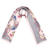 Lange zijdezachte sjaal Silky Circus|Paisley fantasy|Roze grijs