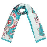 Lange zijdezachte sjaal Silky Circus|Paisley fantasy|Aqua blauw mint groen