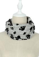 Warme kindersjaal Paws|Grijze col sjaal kinderen|Gevoerde sjaal|Pootafdrukken print