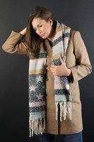 Warme dames sjaal Ruby|Beige roze|Gestreept Sterren|Glitter|Lange dames shawl