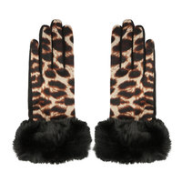 Zachte dames handschoenen Leopard Fur|Zwart Bruin|Luipaard print nepbont|warme handschoenen