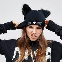 Warme dames muts Funky Cat|Zwart|Gebreide beanie