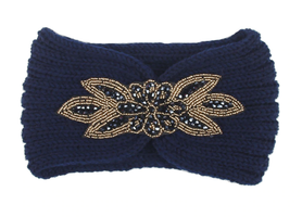 Hoofdband Winter Sparkle|Blauw|Gebreide haarband|glitter
