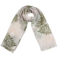 Lange dames sjaal Fun Jungle Vibes|Lange shawl|Groen Beige|Tropische bladerprint palm print