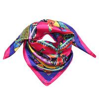Vierkant zijdezacht sjaaltje Colorful Animals|Satijn|Blauw Roze|Bandana sjaaltje in je haar