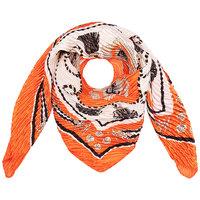 Vierkante zijdezachte dames sjaal Orange Summer|Vierkante shawl|Satijn|Oranje