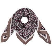 Vierkante zijdezachte dames sjaal Silky Leo Art|Vierkante shawl|Satijn|Roze bruin|Luipaardprint