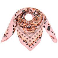 Vierkante zijdezachte sjaal Classic Silky Leo|Vierkante shawl|Satijn|Roze bruin|Luipaardprint