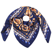 Vierkante zijdezachte sjaal Classic Silky Leo|Vierkante shawl|Satijn|Blauw bruin|Luipaardprint