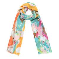 Lange dames sjaal Cheerful Day|Lange shawl|Stippen bloemen|Geel groen