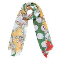 Lange dames sjaal Cheerful Day|Lange shawl|Stippen bloemen|Rood groen