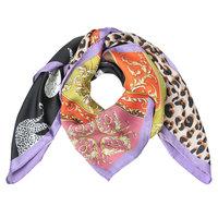Vierkante zijdezachte sjaal Colorful Leo|Vierkante shawl|Satijn|lila paars|Luipaardprint
